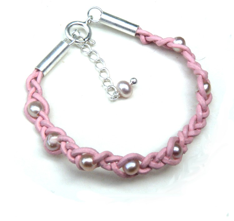 Pink Pearls on Pink Leather Bracelet