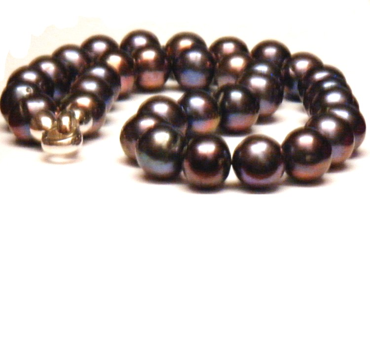 Aubergine Black 12-13.4mm Round Pearls Necklace
