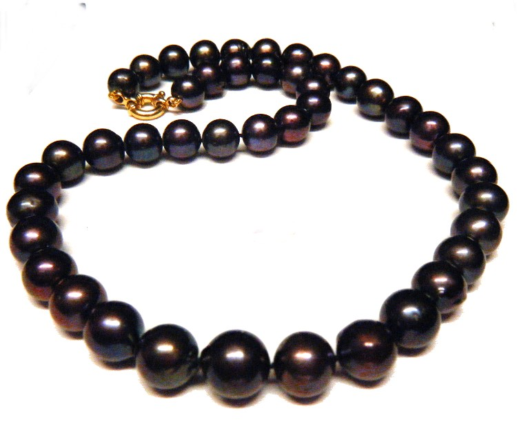 Aubergine Black 10.9-11.7mm Round Pearls Necklace