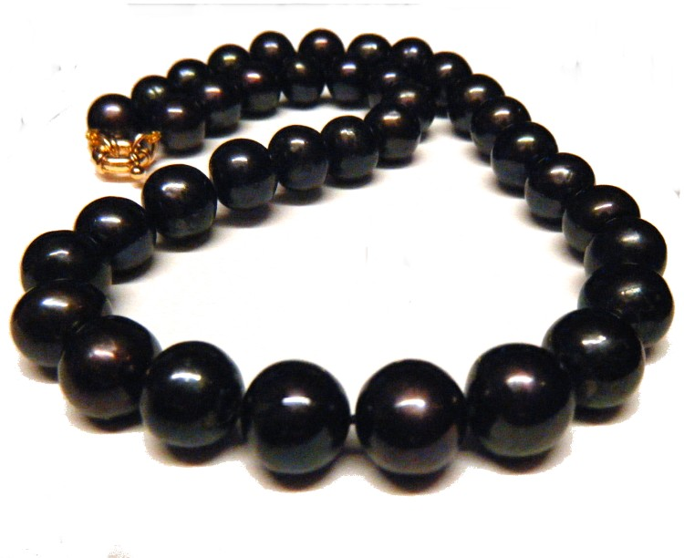 Aubergine Black Semi Round Large Pearls Necklace