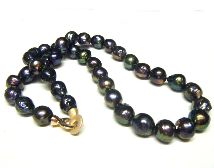 Black 11.3-12.5mm Ripple Pearls Necklace