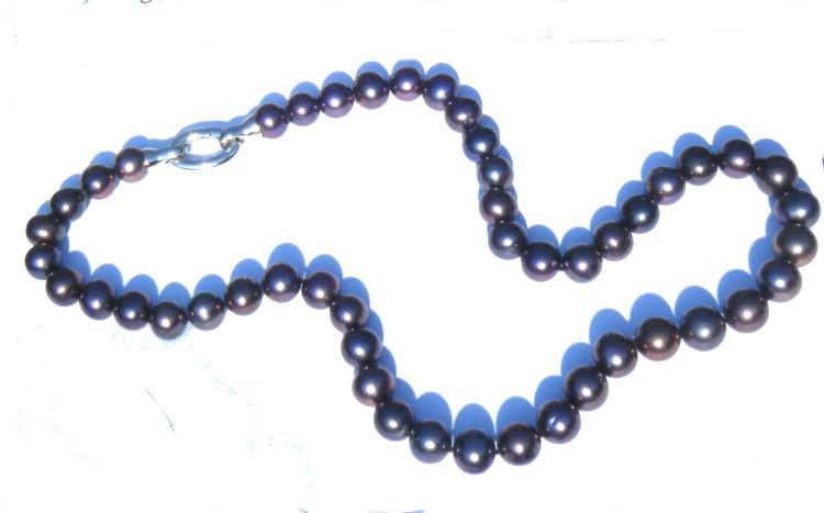 Aubergine Black 9.6-11.2mm Round Pearls Necklace