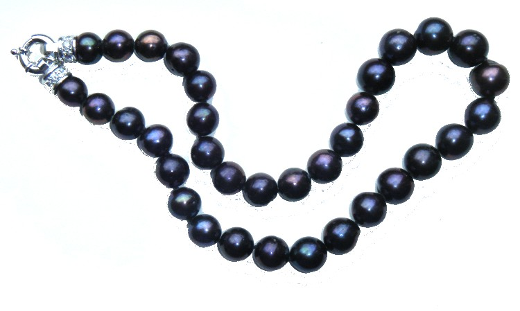 Aubergine Black 10.5-12.8mm Round Pearls Necklace