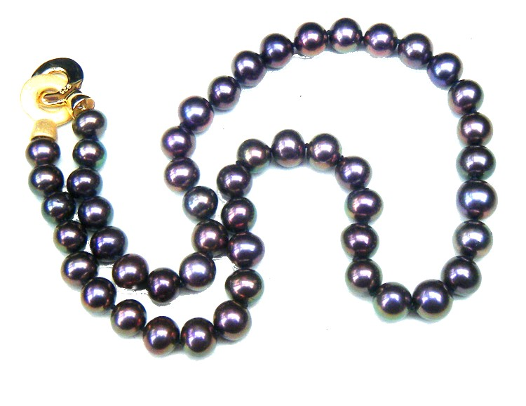 Black Peacock 8.7-10mm Round Pearls Necklace