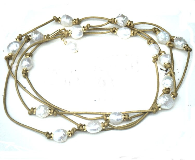 White Granulated Pearls on Gold Leather
